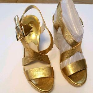 Michael Kors Women's Giovanna Leather Wedge Sandal